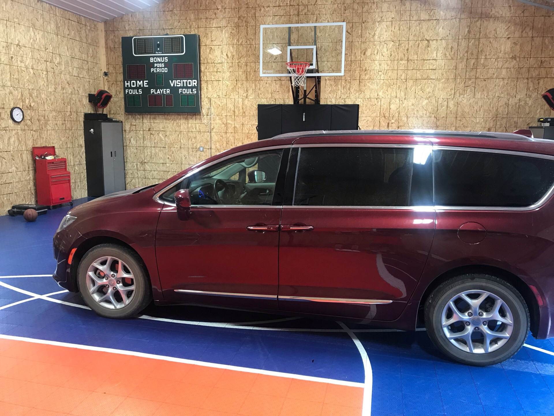 Car on Versacourt indoor basketball court